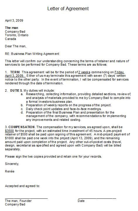 printable sample letter of agreement form business agreement sample letter