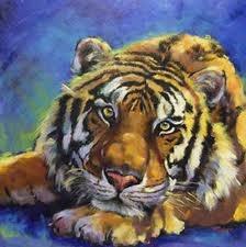 Nous pouvons apercevoir dans cette oeuvre un tigre couché sur le ventre qui a la tête accotée sur sa patte avant. J'aime de cette oeuvre la façon réaliste d'ont l'artiste à créer son oeuvre. Et l'émotion qui en déguage.