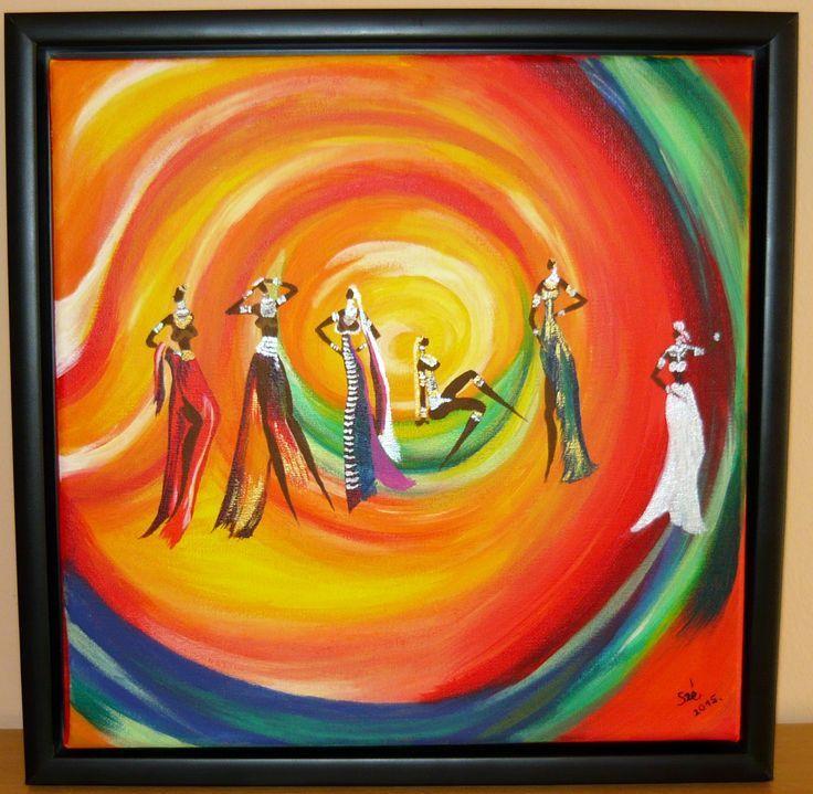 created by: Szöllős  Éva - rainbow dance, acrylic, 30x30 cm  canvas    2       Kitűzte: Kovácsné Sz. Éva