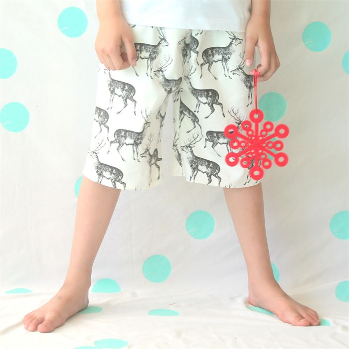 Boys Christmas Deer Shorts - Size 2, 4, 6, 8. Made by Mozzie & Mac