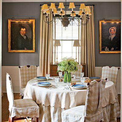 wonderful dark grey for dining room walls: Wall paint: Chelsea Gray (HC-168); Benjamin Moore. Wainscot paint: Acadia White (AC-41); Benjamin Moore.