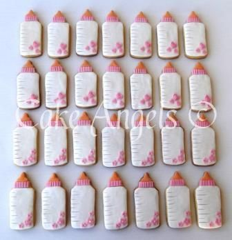 Pink and White Baby Bottle Cookies