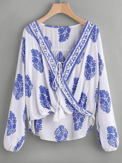 Blusa con cuello peter pan con péplum - azul-Spanish SheIn(Sheinside) Sitio Móvil
