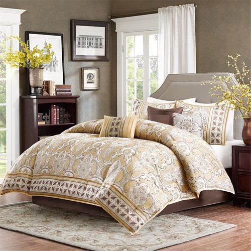 chapman gold sevenpiece california king comforter set - Cal King Comforter Sets