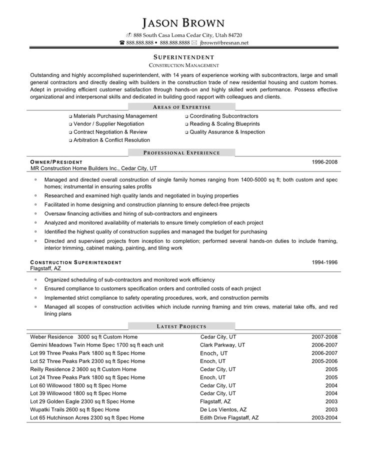 23 best Working Girl images on Pinterest Resume templates, A - construction superintendent resume templates