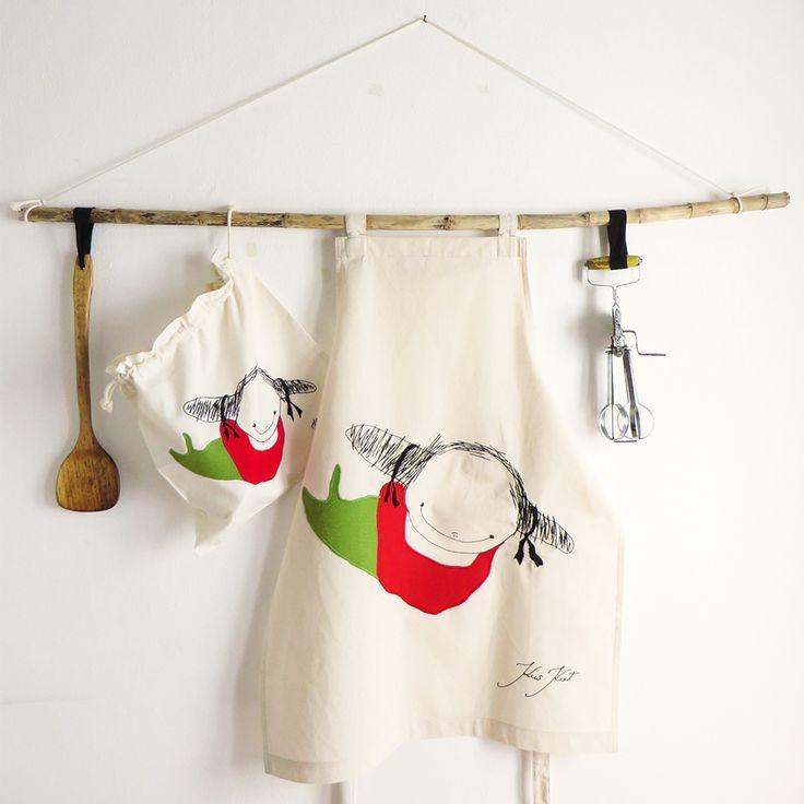 Mother's day gift set Natural Canvas Apron & eco-friendly bread bag Poissondriek