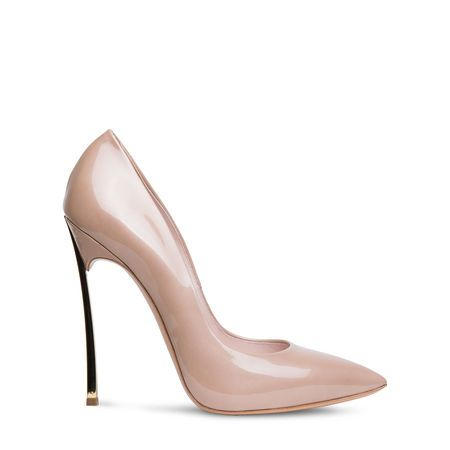 CASADEI Blade pointed toe pump in (nude) patent leather by www.giulialoves.