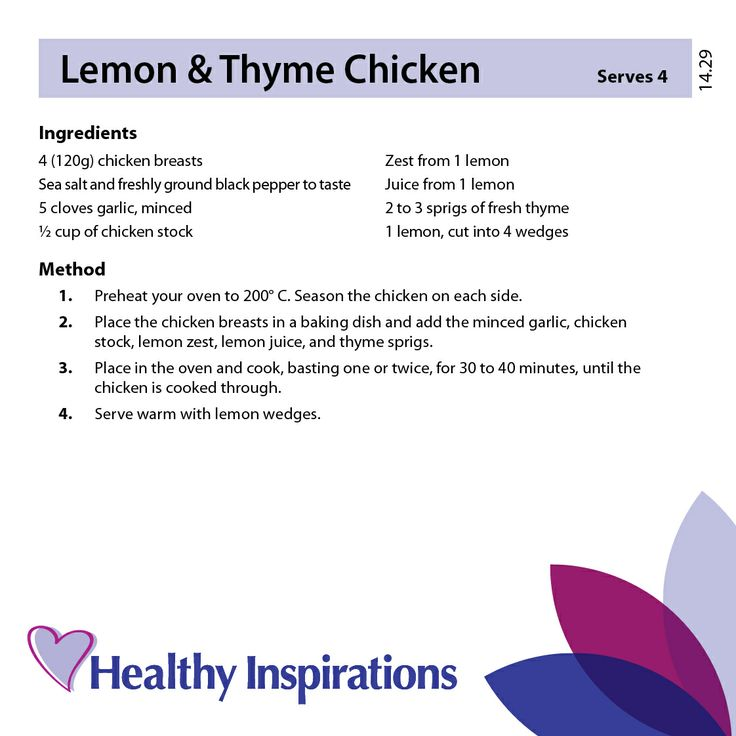 Lemon & Thyme Chicken #healthyrecipes #healthyinspirations