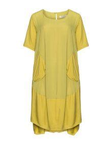 zedd plus Kleid mit High-Low-Saum und Taschen in Gelb