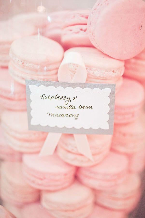 Pink raspberry & vanilla bean macarons: Cake, Macaroons, Sweet, Wedding Ideas, Food, French Macaron, Pink Macaroon, Macaroons, Dessert