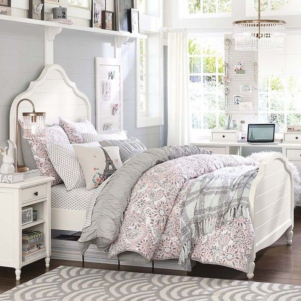 PB Teen Genevieve Bed, Twin, Distressed Simply White ($480) ❤ liked on Polyvore featuring home, furniture, beds, queen headboard, wood queen bed, distressed wood headboard, white bed and white twin beds