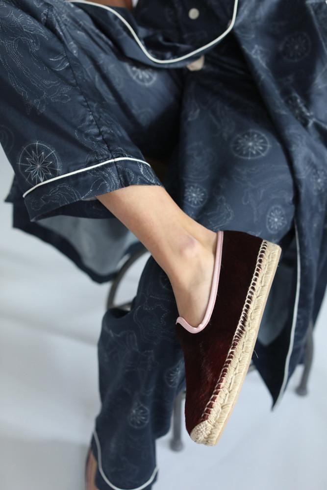 Maroon & Pink  Espadrille Slippers
