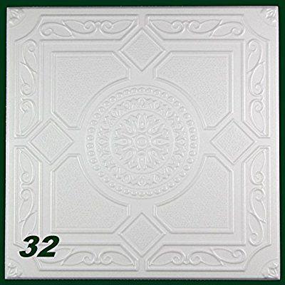 1 m2 Styroporplatten Styropor Dekor Stuck Deckenplatten 50x50cm, Nr.32