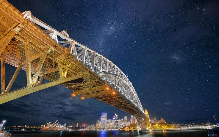Обои для рабочего стола Ночное небо над мостом, Сидней, Австралия