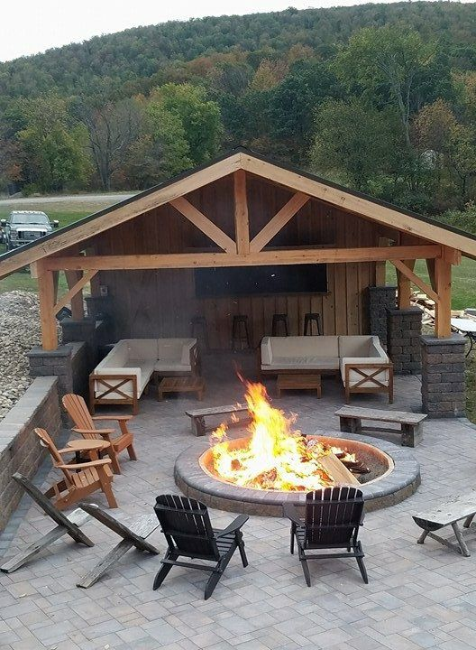 Covered outdoor patio with fire pit.