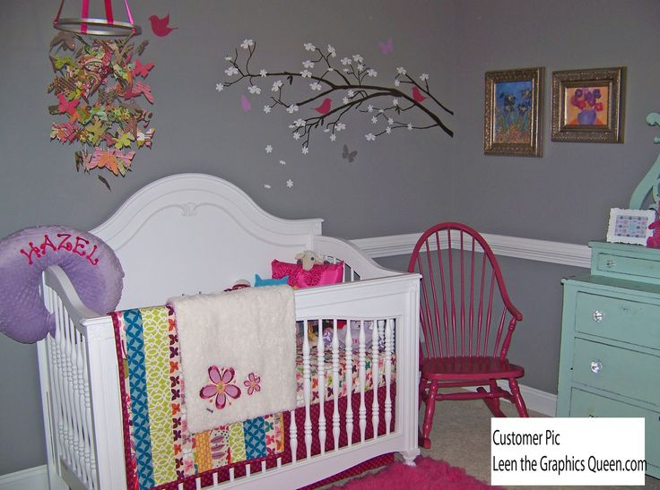 Awesome Bedroom Lovely Part Of The Baby Nursery With White Baby Crib And Grey Wall  Painting And Floral Ornament Dazzling Baby Birl Nursery Ideas Offering  Inspiring ...