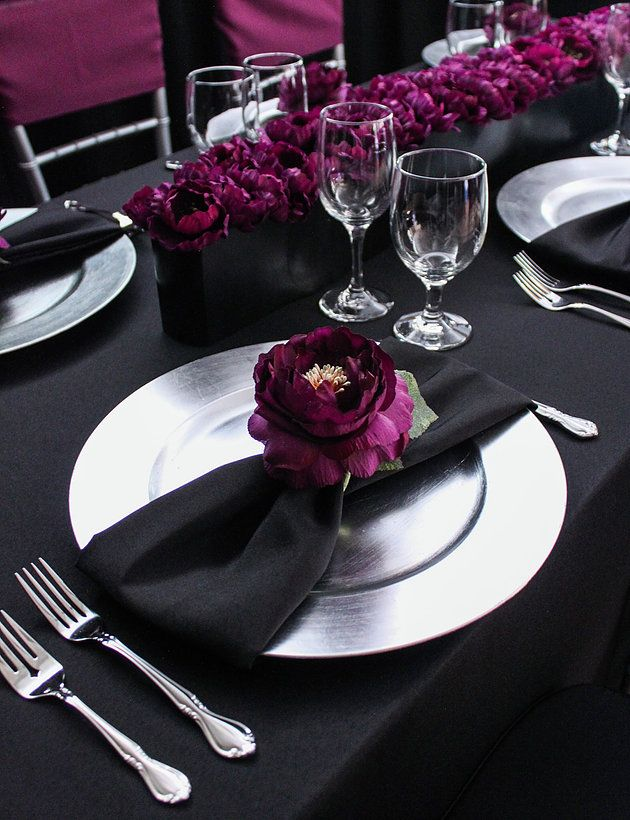Black and plum wedding | black and silver table decor | Miami Party Crashers