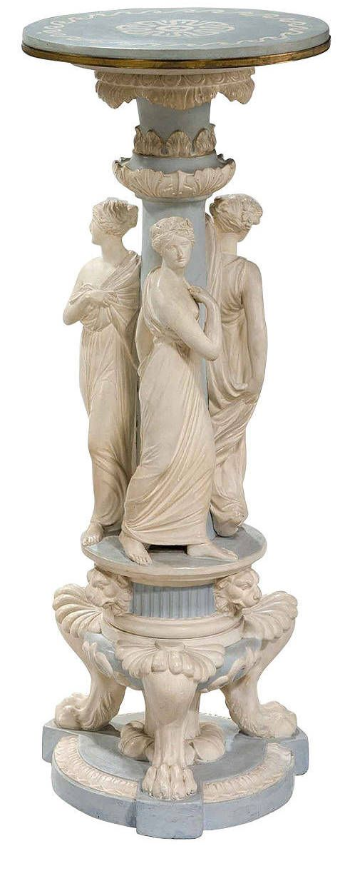 Porcelain Columns Pedestal in soft dove grey with beautifully modeled neo classical maidens much influence by Canova.