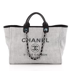Chanel Deauville Chain Tote Canvas Large  f482cfdcd28af