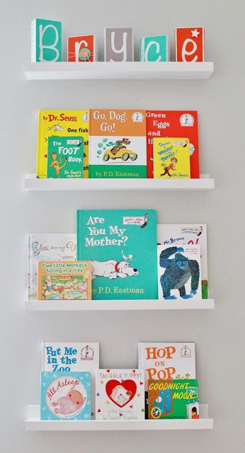 Delightfully Noted: Finally! Our Baby Boy's Aqua, Orange, & Grey Nursery Reveal, book wall