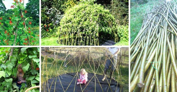 Zahradní domek pro děti z proutí a pnoucích fazolí