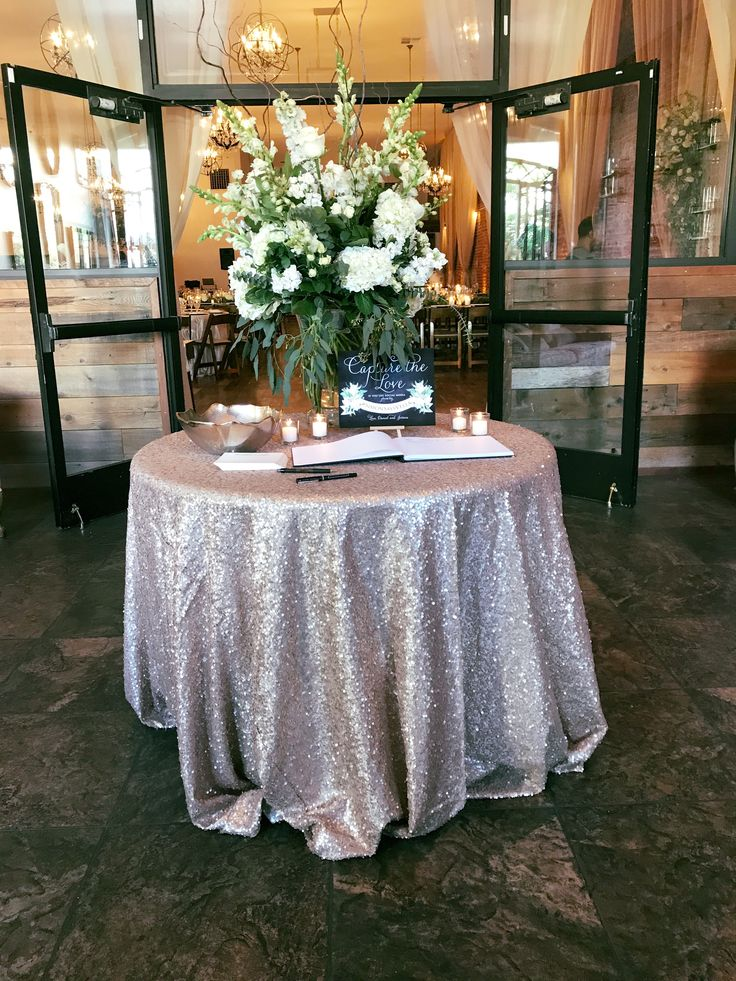 Sign in table for wedding | wedding guest book | wedding held at The Century in Downtown Modesto, CA