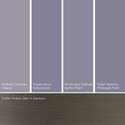 These hues are elegant against an ebony-colored floor, such as Daltile's Timber Glen in Espresso.From left to right: Mulberry Shadow 4003-4A, from Valspar; Purple Moon KM3085-2, from Kelly-Moore; Windswept Solitude 011-5, from Mythic Paint; and Violet Verbena 445-5, from Pittsburgh Paint.