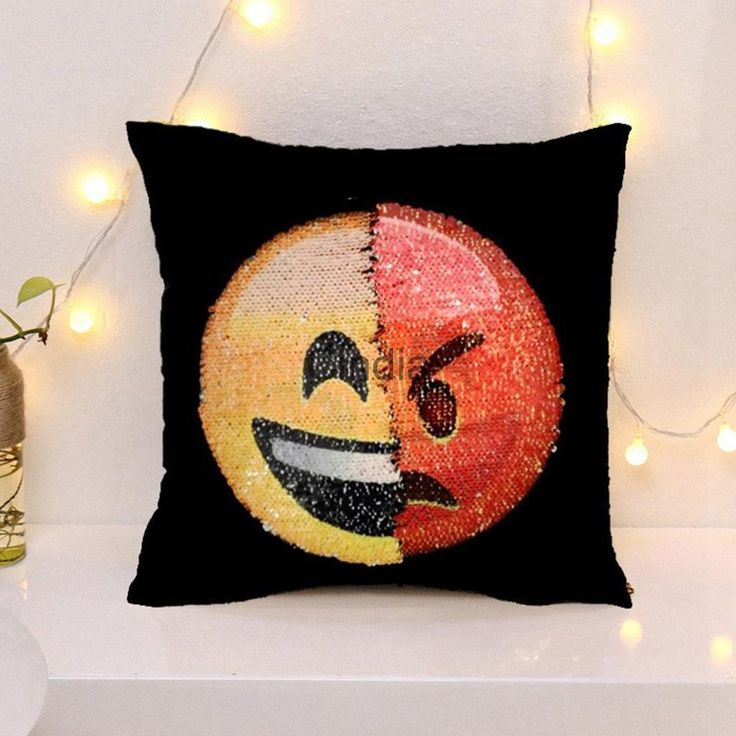 3D Funny Changing Face Emoji Cushion Cover Diy Sequins Reversible Pillowslip