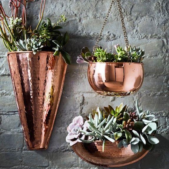 Copper Wall Planter Williamssonoma Gardeningdiy Diy Garden Vertical Herb Garden Vertical Garden Design