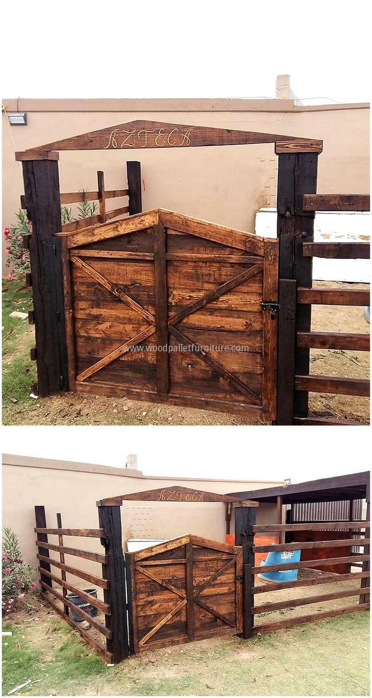 We always strive to give our guest a good reception and here we go with a fresh idea of re-transformed wood pallet patio door. The fence around it is highlighting the rustic and classic door to appear more distinct. This serves your decor needs a great deal.