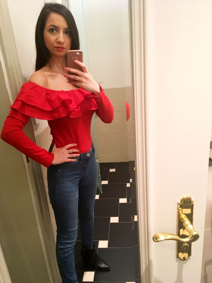 Red bardot ruffles top   Perfect for a dinner out or date :)  #fashionista #bardottop #redoutfit #style
