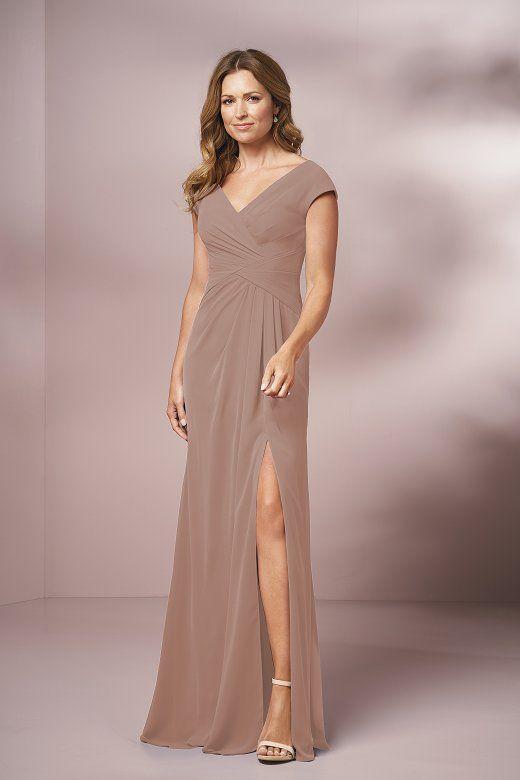 31aeff2ee6 J205001 Long V-neck Jade Chiffon MOB Dress with Slit