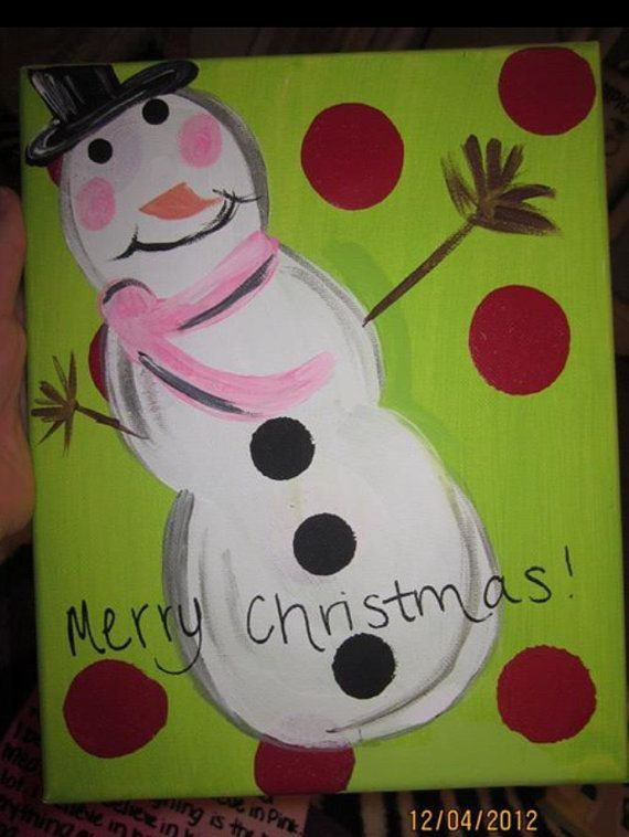 Cute Frosty The Snowman Canvas Paint Idea For Wall Decor Painting Art