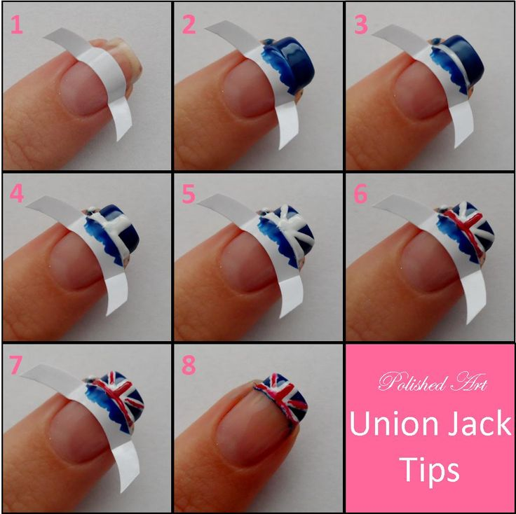 34 best tape nail designs images on pinterest summer toenails union jack french tips step by step nail prinsesfo Gallery