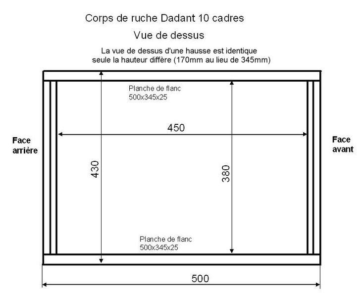 Corps de ruche Dadant 10 cadres vue de dessus.JPG 825×678 pixels