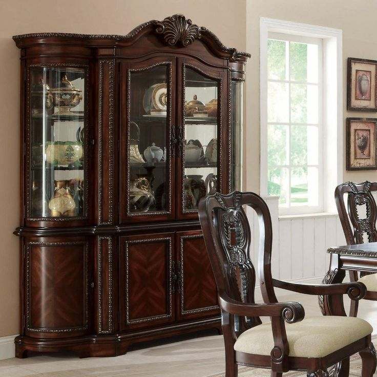 Alexander Traditional Dark Cherry China Cabinet With Mirrored Back Find This Pin And More On Formal Dining Room