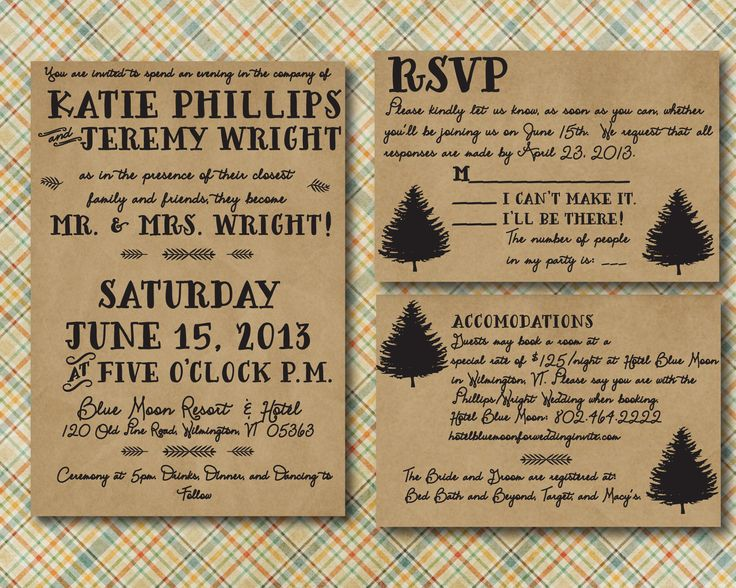 Camping Wedding Invitations: Rustic Wedding Invitation With RSVP Card