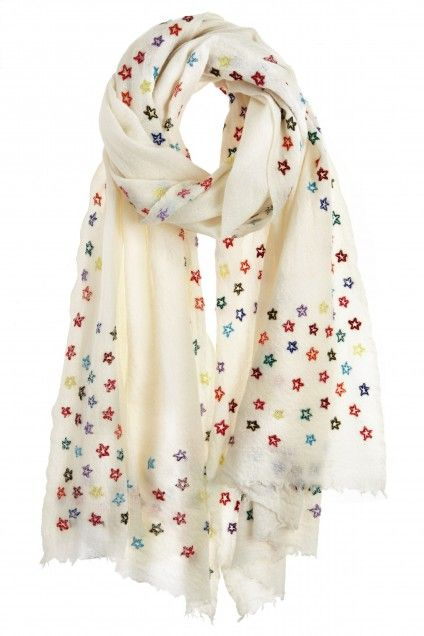 Skyful Embroidered Wool Gauze Scarf   | Calypso St. Barth