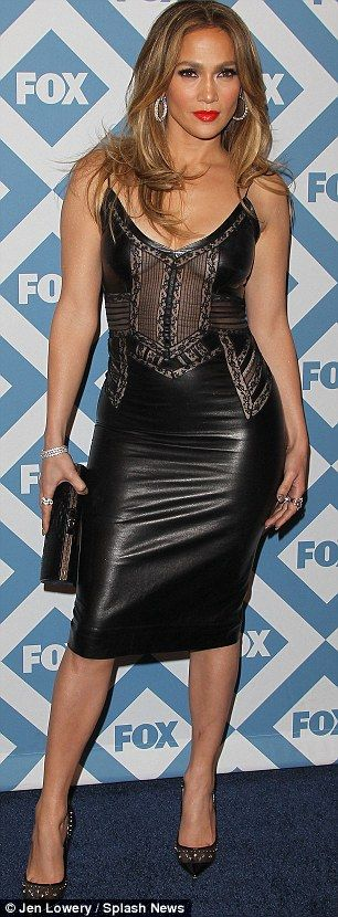 WERQ. Jennifer Lopez. LBD: The 44-year-old multifaceted star donned a leather and lace dress, brown and black heels with jewel accents, and various sparkly jewelry..