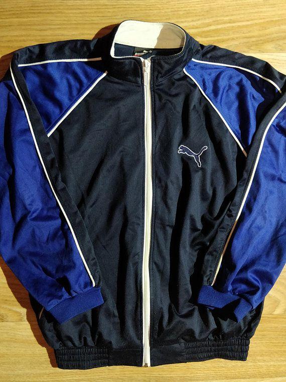 feec7e4ae09d Puma 90 s Vintage Mens Tracksuit Top Jacket Navy Blue Black