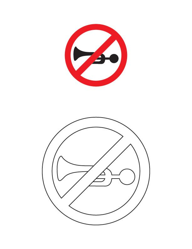 Horn prohibited traffic sign coloring page