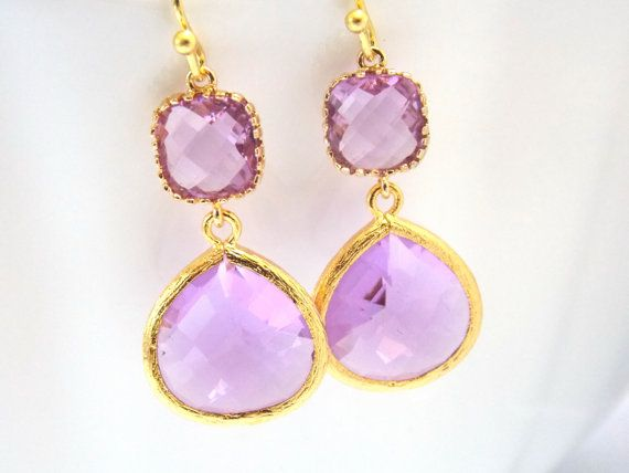 Lavender Earrings, Gold, Glass Earrings, Violet, Purple, Lilac, Bridesmaid Jewelry, Bridesmaid Earrings, Bridal Jewelry, Bridesmaid Gifts on Etsy, $27.00