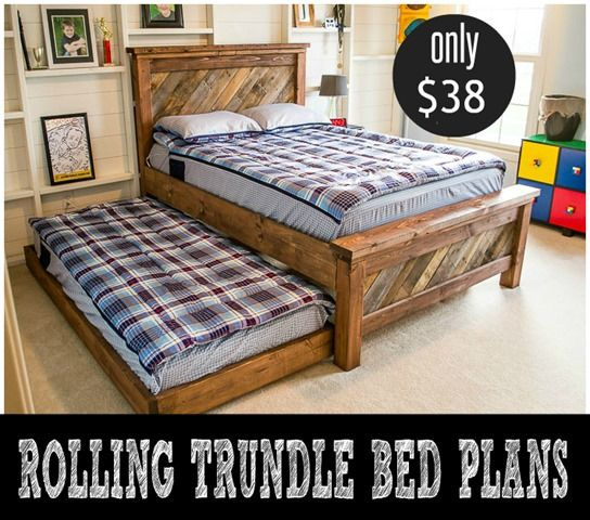 DIY Furniture Plans | Get the free woodworking plans to build this rolling trundle bed for only $38 in lumber!