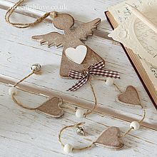 Dangly Angel & Hearts -Natural Wood