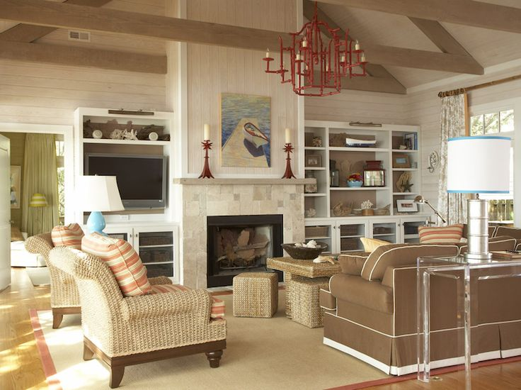 Amanda Nisbet Design: Seaside living room with vaulted ceiling and ...