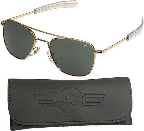 American Optical Pilot Aviator Sunglasses 55 mm Gold Bayonet True Color Gray Glass Lenses 30185
