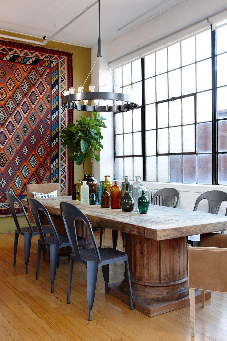 Amazing 39 Original Boho Chic Dining Room Designs : Boho Chic Dining Room  Designs With White Brown Wall Big Window Wooden Dining Table Chair Bar  Stool ...