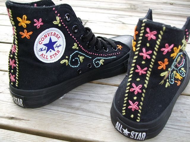 Pimp out your Chucks....Embroidered Converse. YES!