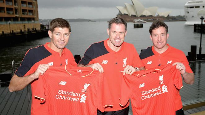 Finally an explanation to the lousy Sydney weather – Liverpool Legends are here and they've brought the weather with them!? Steven Gerrard, Jamie Carragher and Robbie Fowler line-up for the 'money shot' (with obligatory Opera House in background) on a decidedly grey, overcast and lousy day. It's expected to clear for tonight's game against Socceroos Legends. 07.01.15