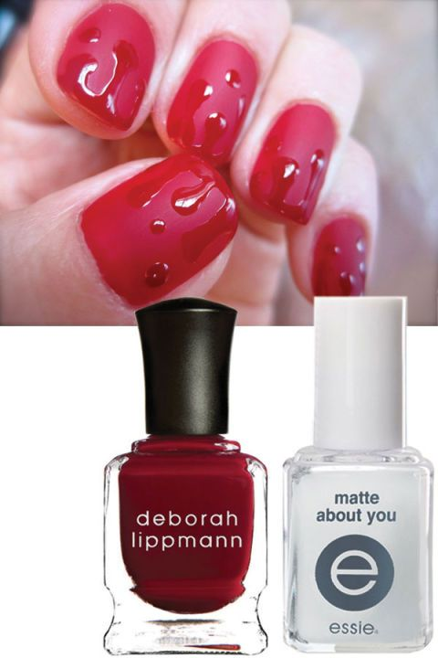 How to get these matte blood-red nails for Halloween:  Apply two coats of a rich red and dry fully. Follow with a matte top coat. Use the original polish for the drips, and you're good to go!